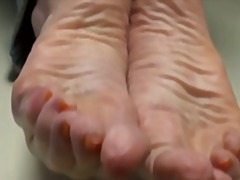 on, foot fetish, matures, cum, grannies