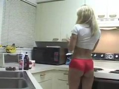 girl, panties, sporty, kitchen, messy