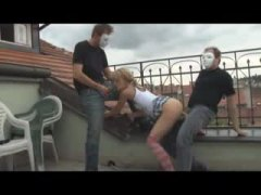 Alpha Porno Movie:Guys in mask fuck a teen on th...