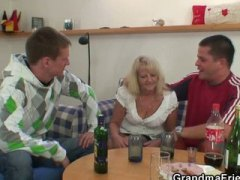 mom, old, granny, threesome, drunk, wife