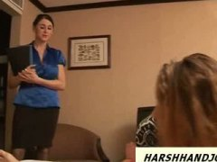 Keez Movies Movie:2 sexy babes give guy handjob ...