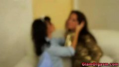 Glamour satin lesbian foreplay