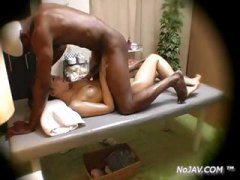 Asian babe is fucked hard by black guy in this interracial fuck