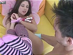 Young brunette teen gets tied up and banged and takes his cock deepthroat