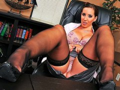 Young busty brunette secretary gets punished by boss in his offic