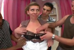 Mature French gal does a gangbang