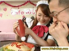 fetish, pussy, asian, maid, brunette, uniform, japanese, tied,