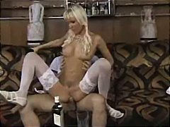 Horny blonde German chick in pigtails munches his cock and rides it