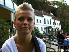 czech, public, amateur, outdoor, blonde,
