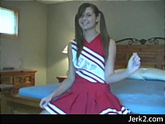 Cheerleader Adrianne Manning laced panties upskirt