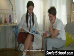 Cute teen tutor giving her student a littl...