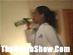 Nasty Dominican chick doesn't like the taste of cum so she washes it down with beer