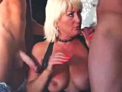gangbang, doggystyle, blonde, mature,