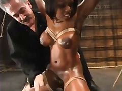 ebony, big tits, bdsm, tied, black, busty,