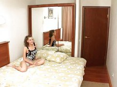 Sweet teen in hotel room preview