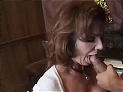 Horny customers watch as this busty brunette cougar bangs the bartender