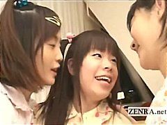 teens, group, japan, kissing, threesome