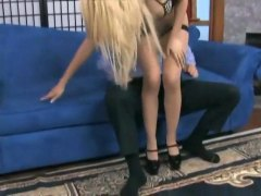 HardSexTube Movie:Footjob in sheer seamed stocki...