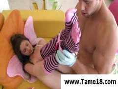 Teen in striped socks gets her pussy drill...
