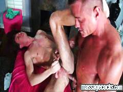 massage, gets, big cock, muscled, bear