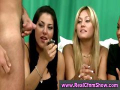 Cfnm babes watch two guys jerk off