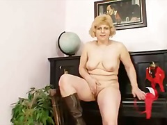 dildo, milf, old, girl, solo
