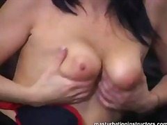 Jerky girl squeezes and bounces her t...