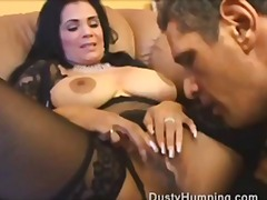 Mature brunette fucks an older guy as his disty cock stuffs her p
