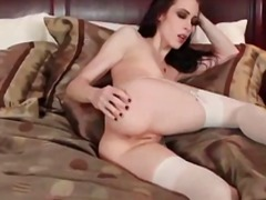solo, brunette, stockings, beauty, fingering, small tits, skinny