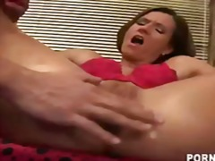 Brunette MILF Maia takes a pair of pi...