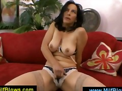Lusty brunette mom mas...