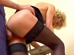 Mature In Stockings Fucks The Decorator