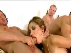 facial, blonde, foursome, fishnet,