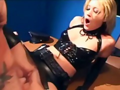 Naughty female cop fucking in latex l...