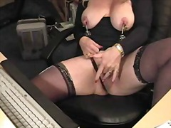masturbating, big tits, stockings, milf,