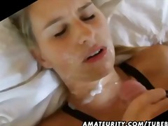 shaved, cumshot, girlfriend, blowjob, blonde