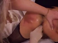 dildo, cum, blonde, stockings, ass, sex