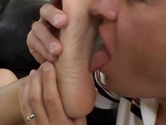 small tits, satin, toe sucking