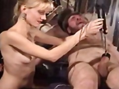 Submissive guy's cock gets wired up a...
