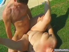Dirty old slut gets cumhozed after a ...