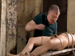 BDSM slave gay boy tickled & milked s...