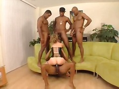 cumshot, interracial, babe, gangbang, big ass, lingerie, group, tattoo, facial, blonde