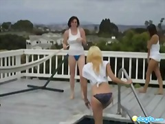 Lesbian wet tshirt pool party fun