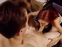 Petite red-haired offi... video
