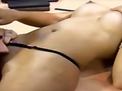 Hot Asian secretary swallows the boss...