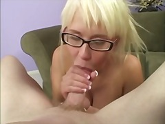 glasses, blonde, booty, blowjob,
