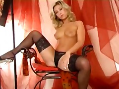 high heels, nylon, panties, masturbating