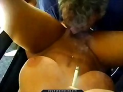 Ruby red lips smoking blowjob