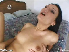 brunette, facial, nipples, sperm,