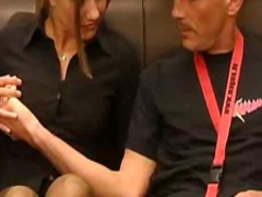 sex, elevator, blowjob, blonde, facial, cumshot